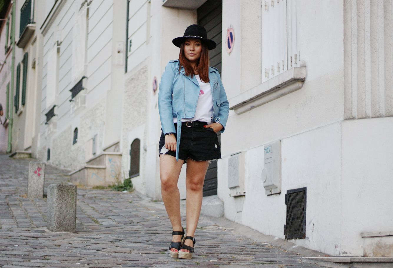 montmartre, panama, chapeau asos, asos, sheinside, t shirt bouche yeux, perfecto bleu zara, zara, perfecto simili cuir, no leather, pull and bear, sac franges, chaussures compensées, panama asos