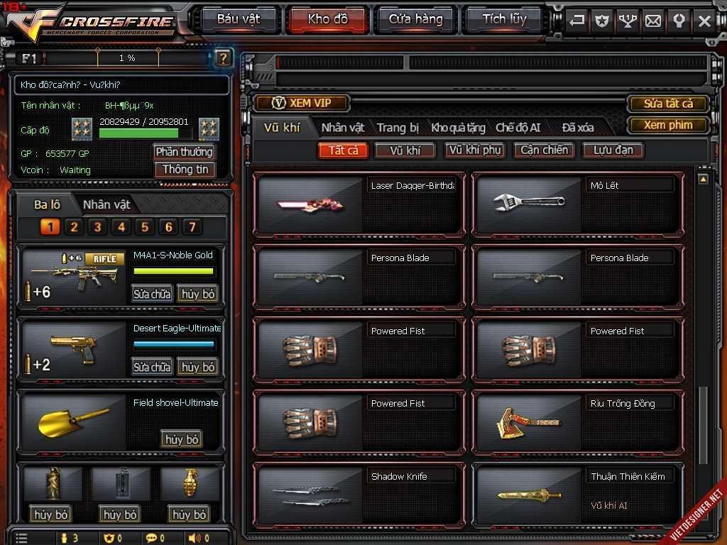 shop nick cf bán acc đột kích giá rẻ mã số 2414