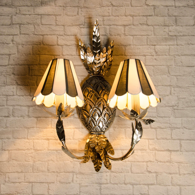 wandleuchte wandlampe lampe leuchte ananas silber metallic. Black Bedroom Furniture Sets. Home Design Ideas