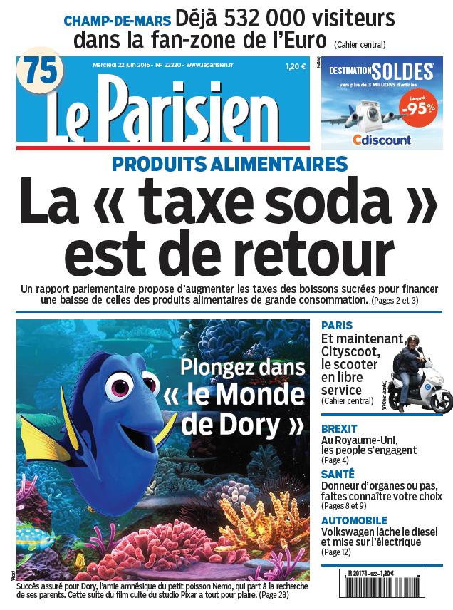 Le Parisien + Journal de Paris du Mercredi 22 Juin 2016