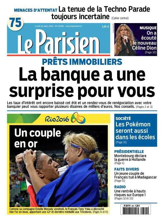 Le Parisien et Journal de Paris du Lundi 22 Aout 2016