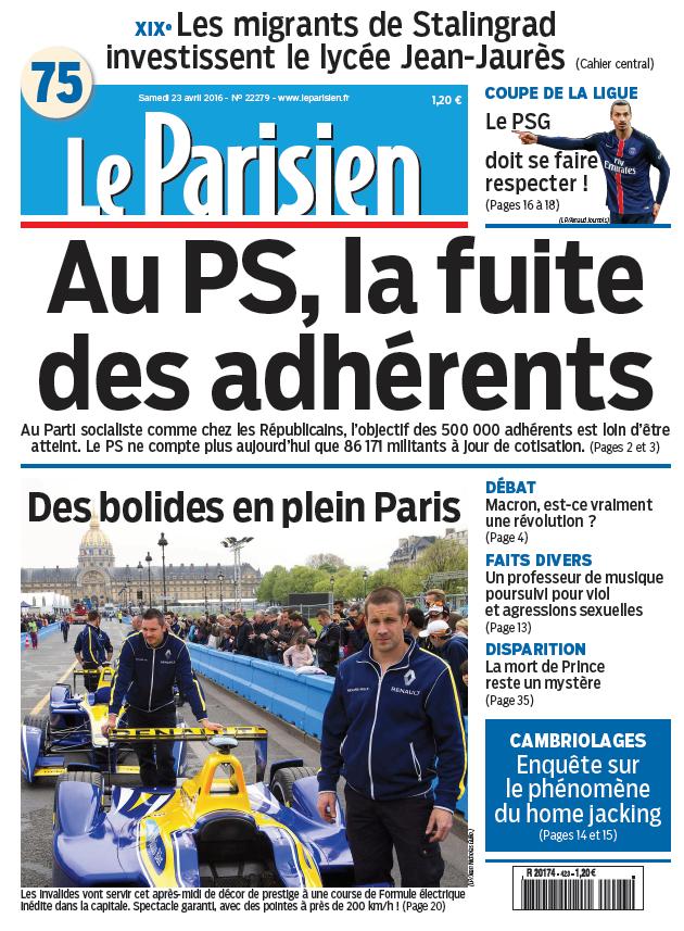 Le Parisien + Jourmal de Paris du Samedi 23 Avril 2016