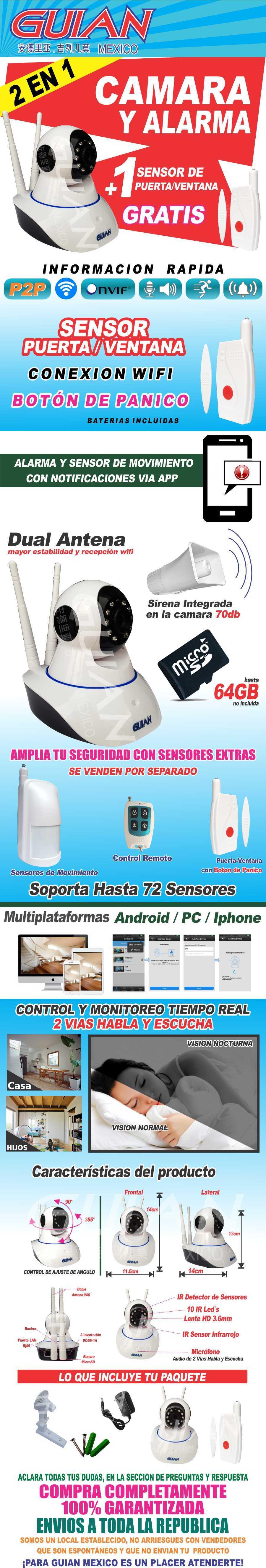Camara ip y alarma con sensor puerta wifi seguridad casa 1 en mercado libre - Camara mirilla puerta wifi ...