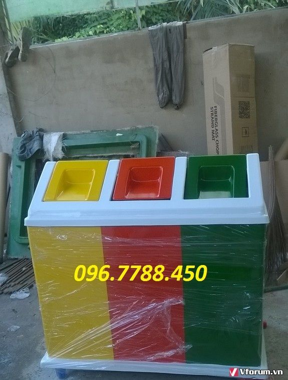 www.123raovat.com: Thùng rác 3 ngăn phân loại rác thải call 096.7788.450