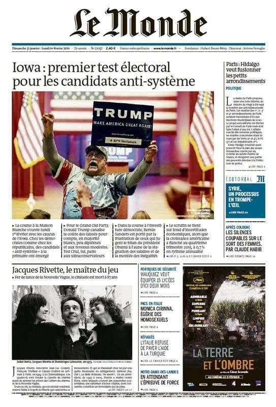 Le Monde du Lundi 1 Fevrier 2016