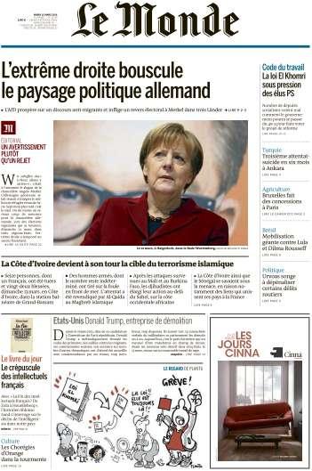 Le Monde du Mardi 15 Mars 2016