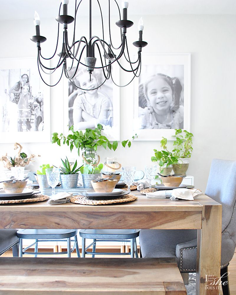 Plants and natural elements dining table decor