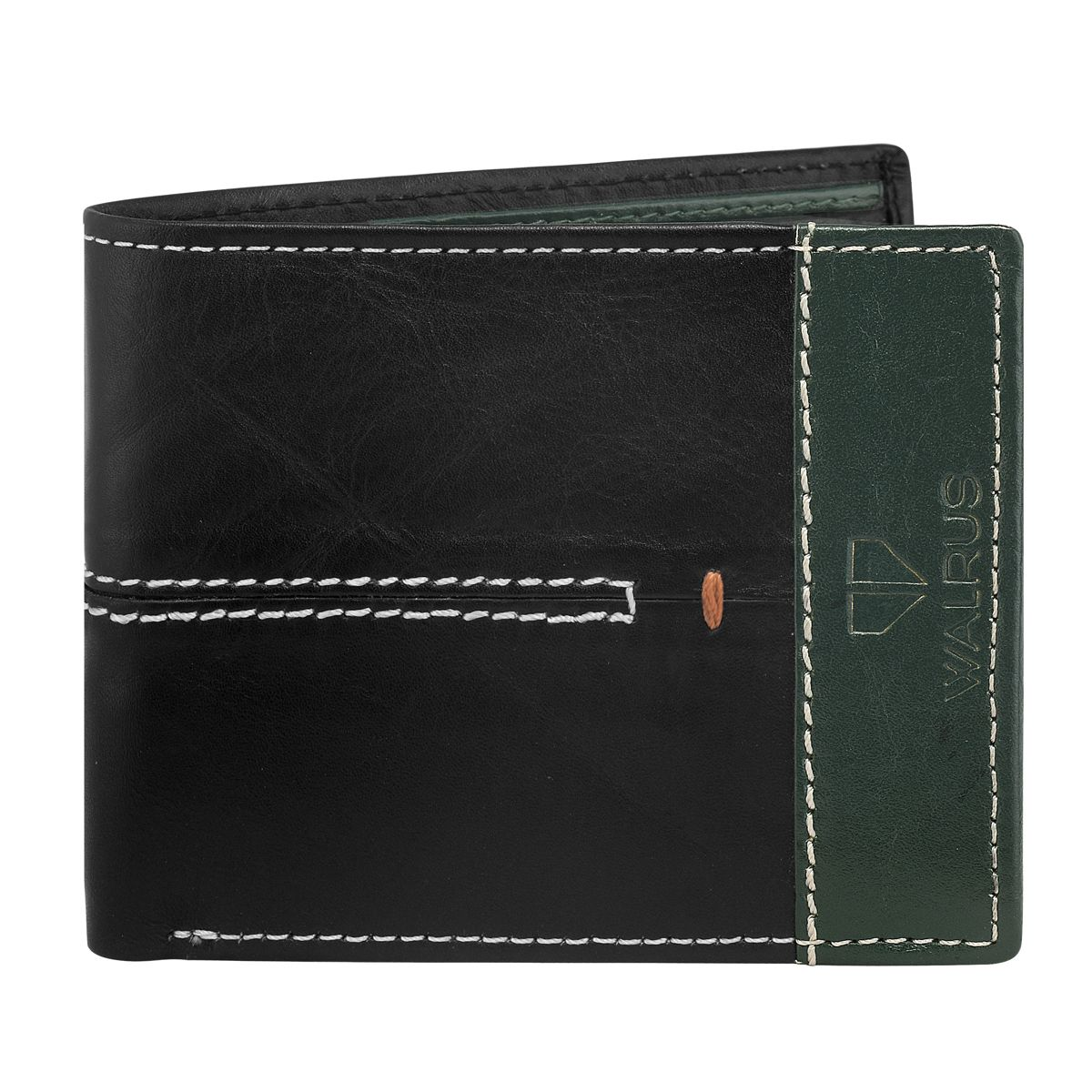 Walrus Marverick Black & Green Color Men Leather Wallet- WW-MVK-II-0204