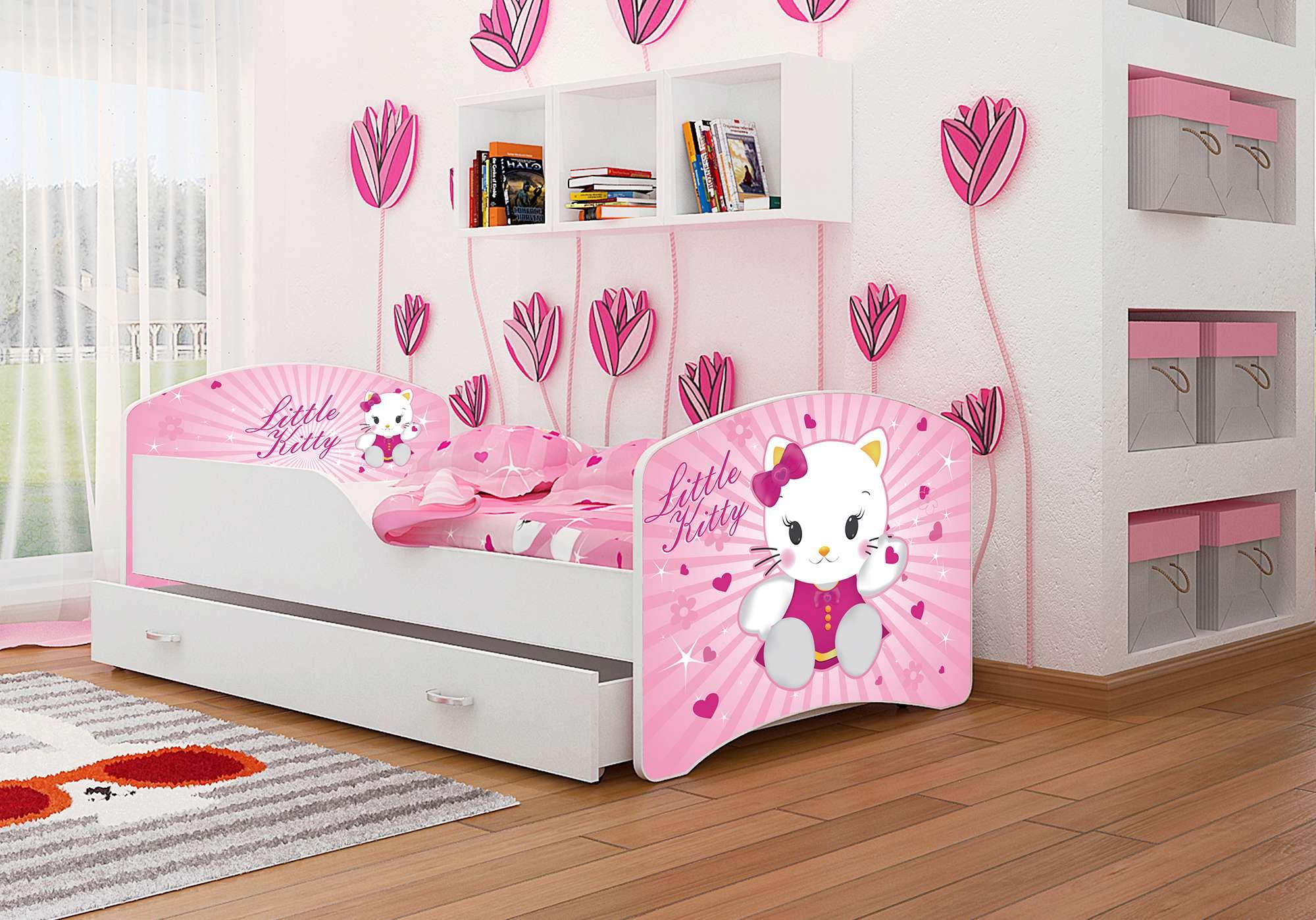 kinderbett 140x80 bett mit einer schublade und matratze. Black Bedroom Furniture Sets. Home Design Ideas