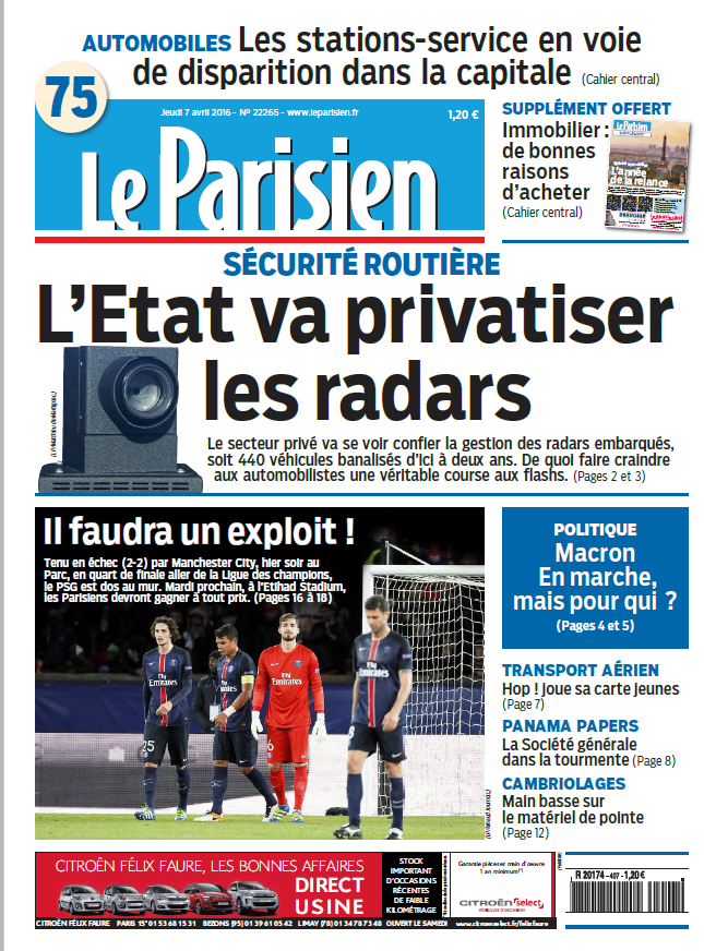 Le Parisien + journal de Paris du Jeudi 7 Avril 2016