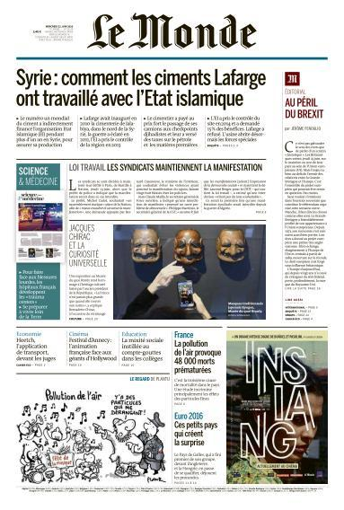 Le Monde du Mercredi 22 Juin 2016