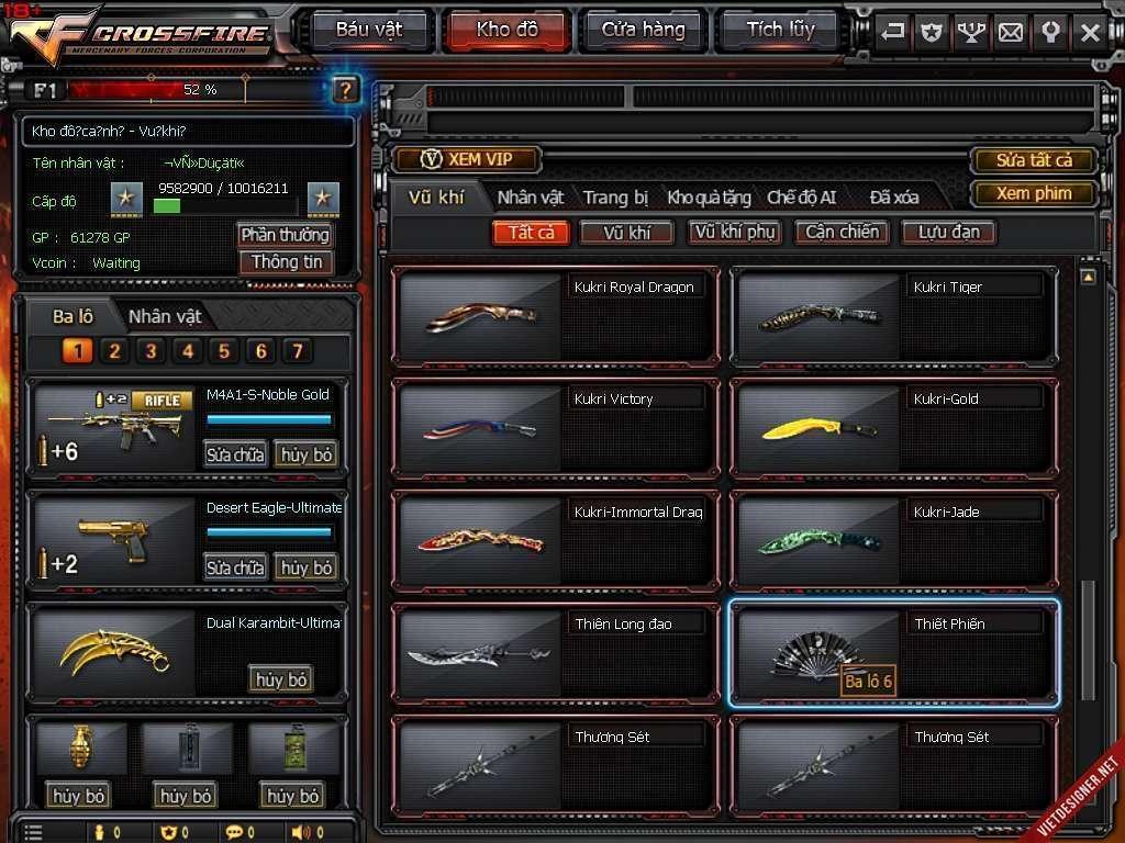 shop nick cf bán acc đột kích giá rẻ mã số 2413