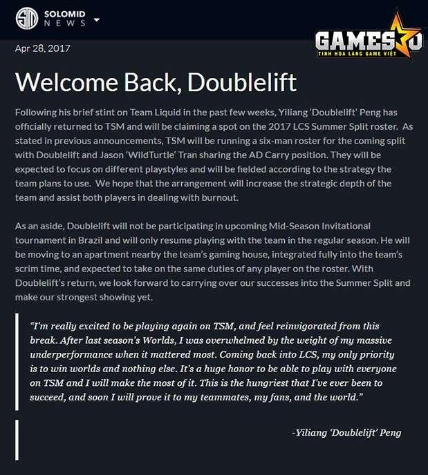 Thông báo đón chào sự trở lại của Doublelift trên trang chủ của TSM