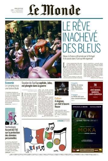 Le Monde du Mardi 12 Jullet 2016