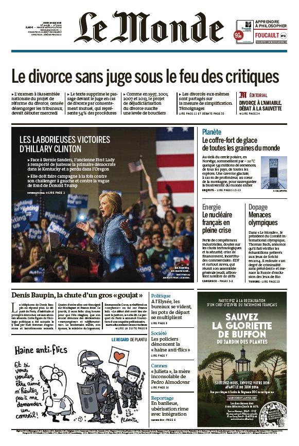 Le Monde du Jeudi 19 Mai 2016