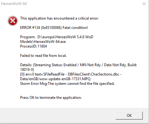 error #132 wow