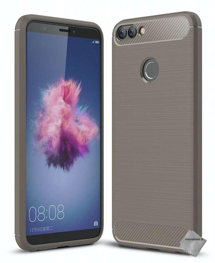 Housse-etui-coque-silicone-gel-carbone-pour-Huawei-P-Smart-verre-trempe