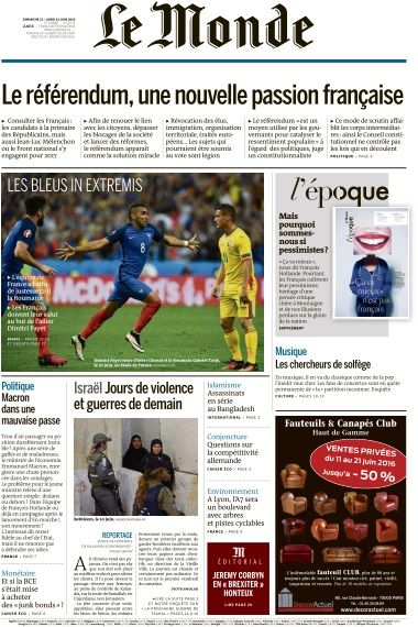 Le Monde du Dimanche 12 et Lundi 13 Juin 2016