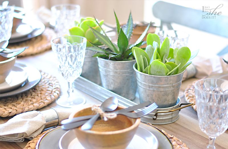 Simple galvanized centerpiece with succulents