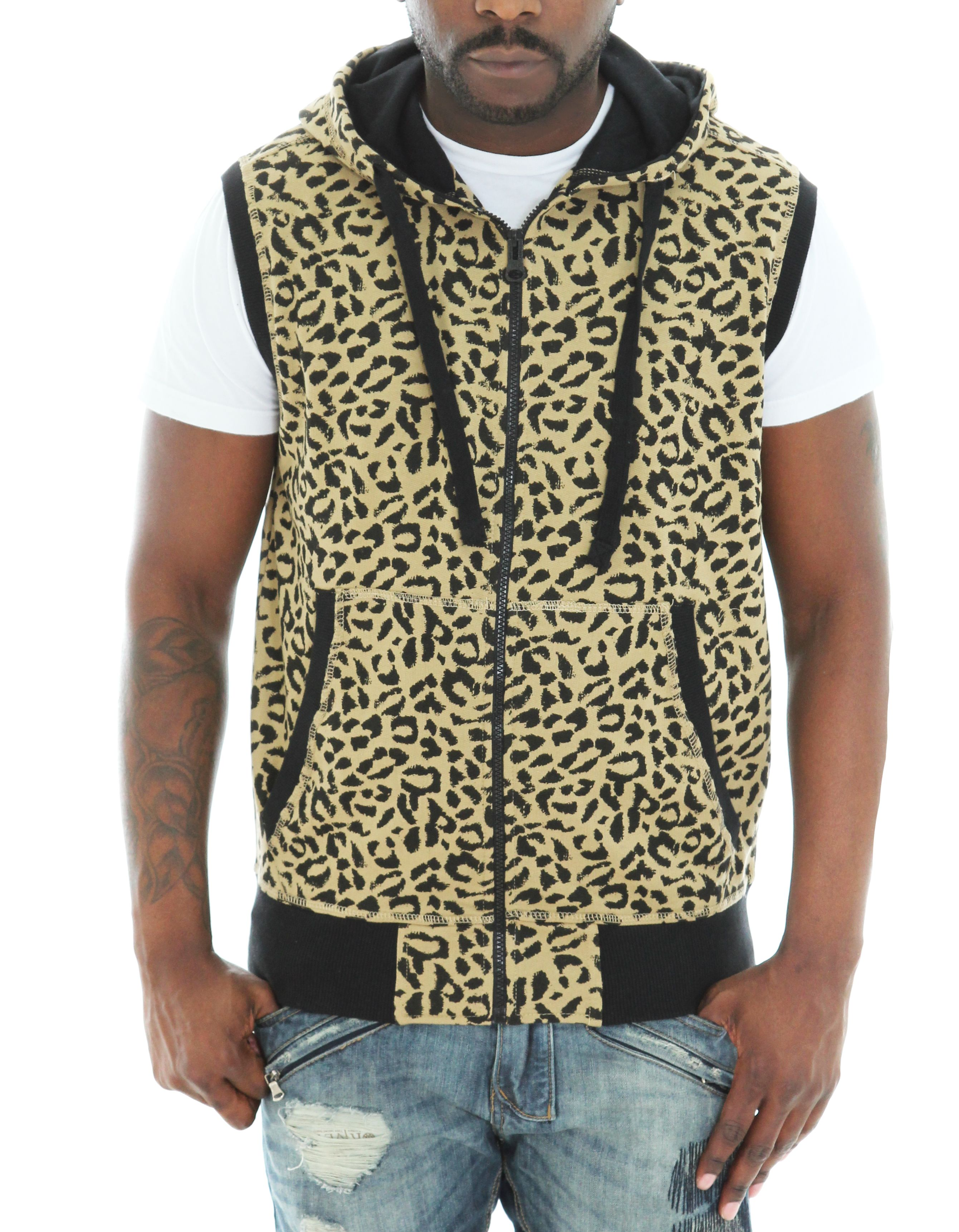 Imperious Men's Leopard Print French Terry Zip Up Sleeveless ...