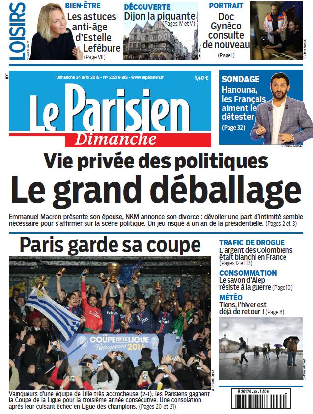Le Parisien + guide de votre Dimanche 24 Avril 2016