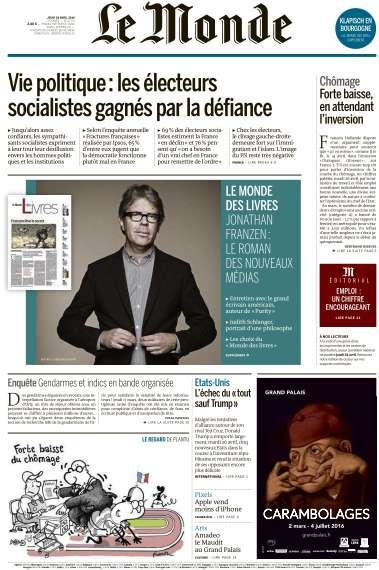 Le Monde du Jeudi 28 Avril 2016