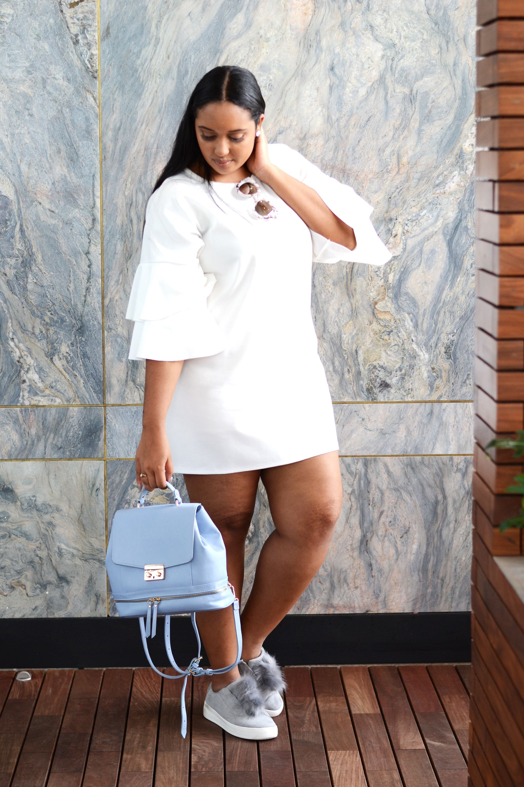 Misguided White Frill Sleeve Shift Dress