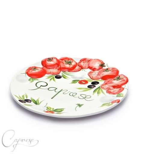 bassano keramik tomaten caprese servierteller platte 30x30 cm aus italien neu ebay. Black Bedroom Furniture Sets. Home Design Ideas