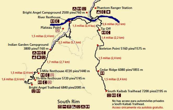 GUIA PARA VISITAR EL GRAN CAÑON mapa trail bright angel south kaibab gran cañon
