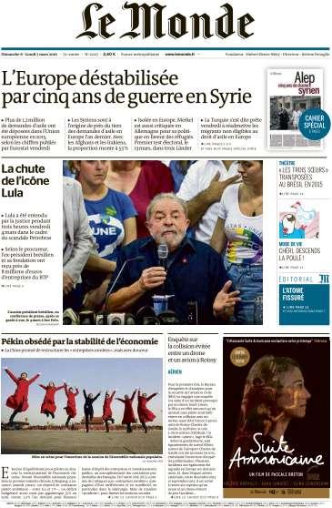 Le Monde + 2 suppléments du Dimanche 6 et Lundi 7 Mars 2016