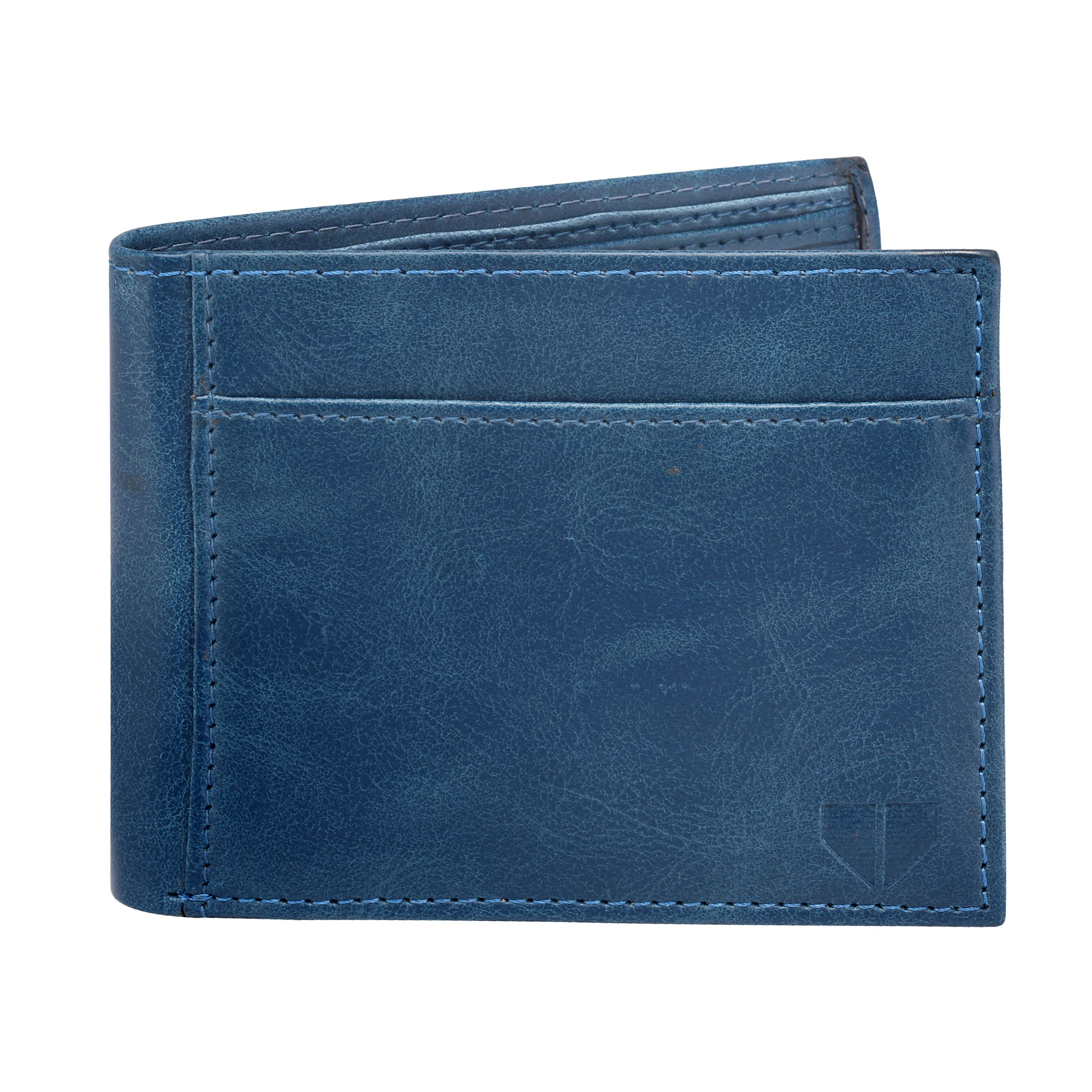 Walrus David Blue & Brown Color Genuine Leather Men Wallet (WW-DVD-0309)