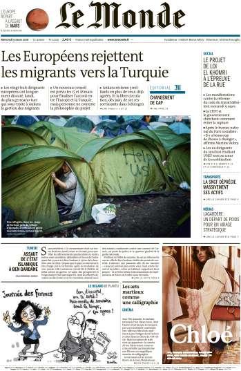 Le Monde du Mercredi 9 Mars 2016