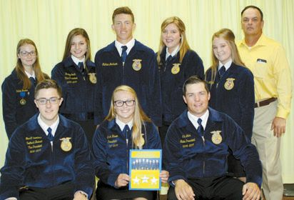 CONFERENCE…Cheyenne FFA Officers attending the COLT Conference were, back row: Callee Lester, Hadley Smith, Nathan Jackson, Claire Kerr, Andrea Maddux, Randy Henderson. Seated: Garrett Saunders, Binger-Oney, southwest district vice president; Sarah Haven and Cale Jahn, Elgin, state FFA president. (Photo provided)