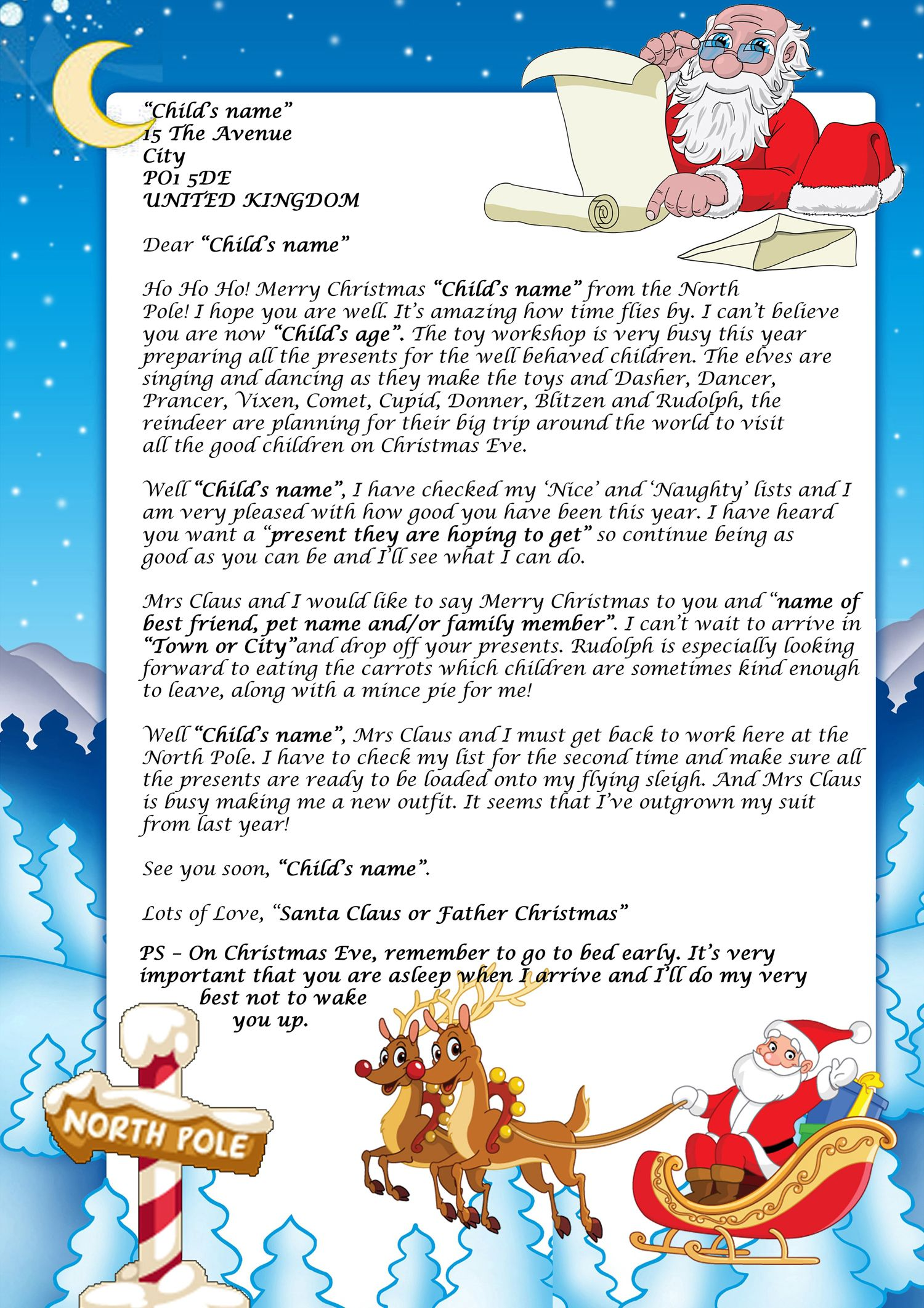 Letter from santa 2017 uk click next choose your story and personalise your letter spiritdancerdesigns Gallery