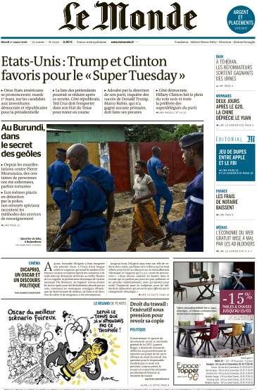 Le Monde + 3 suppléments du Mardi 1 Mars 2016