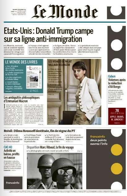 Le Monde du Vendredi 2 Septembre 2016
