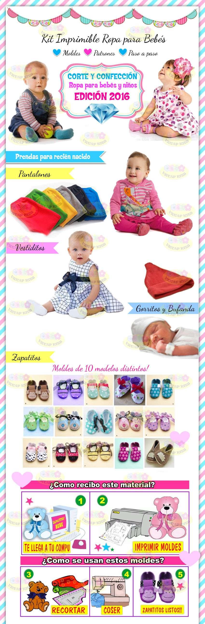 Kit Imprimible Patrones de Ropa para Bebes moldes + tutoriales de ...