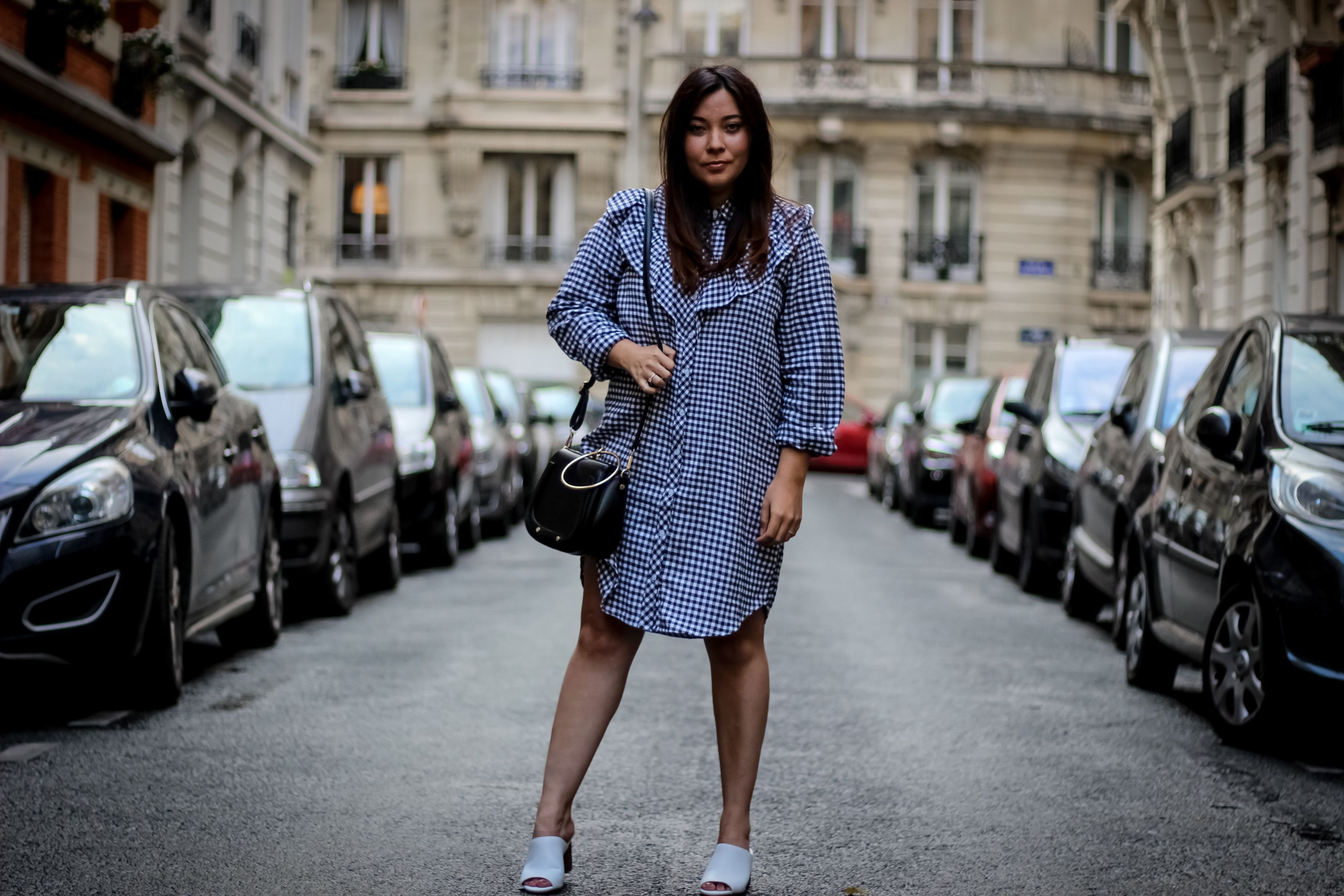robe vichy, new look, sac inspi chloé, mules blanches, mules, the green ananas, blog mode, blogueuse mode, la la land