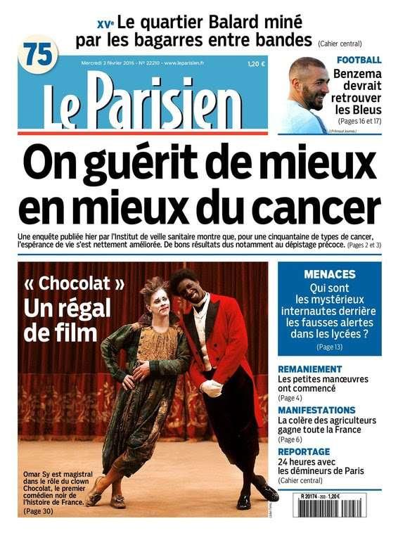 Le Parisien + Journal de Paris du Mercredi 3 Février 2016