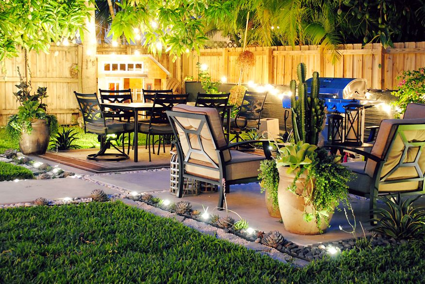 Patio lights and playhouse