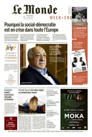 Le Monde du Samedi 13 Aout 2016