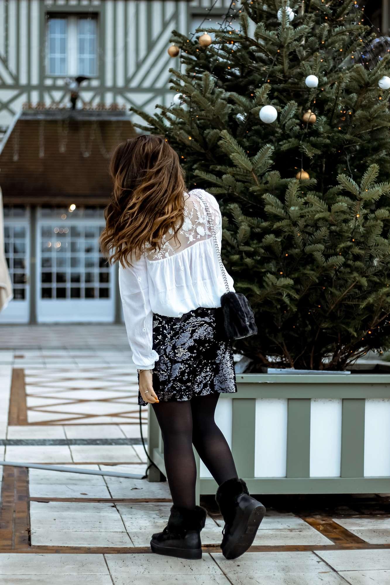 blog mode, the green ananas, zara,look fêtes, jupe sequin, vanessa wu, boots fourrées femme, sac fausse fourrure, stradivarius, noel, christmas