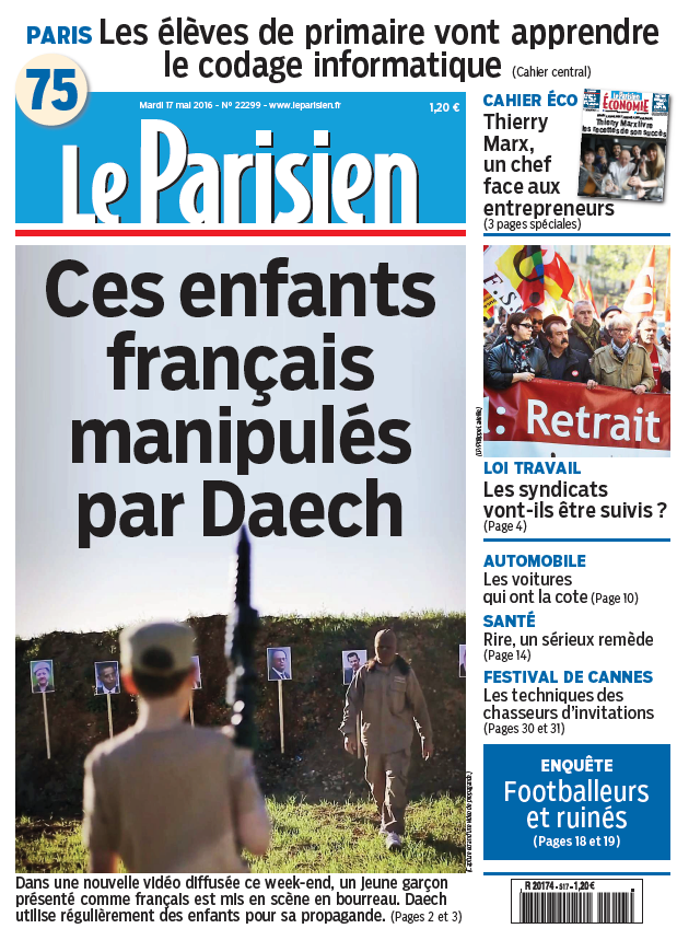Le Parisien + Journal de Paris du Mardi 17 Mai 2016