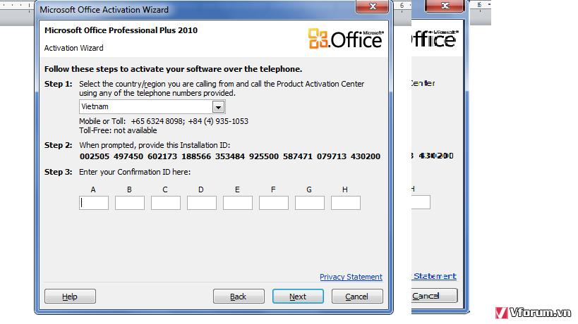 microsoft office 2010 confirmation id