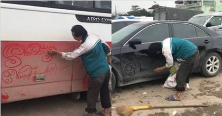 Người đàn ông đi khắp nơi vẽ 'rồng phượng' lên xe đầy bụi bẩn, dân Nam Định nhao nhao tiết lộ thân phận cực đau lòng!