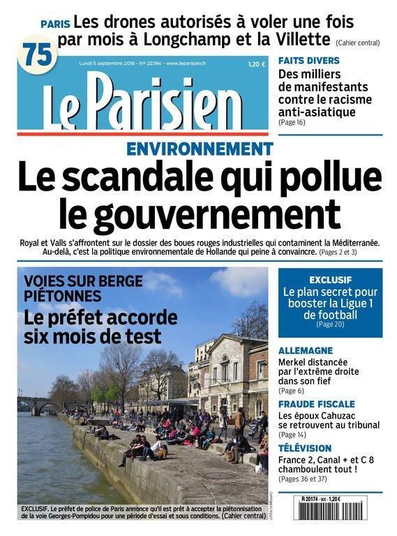Le Parisien et Journal de Paris du Lundi 5 Septembre 2016