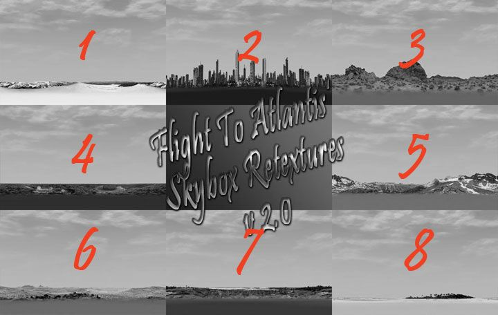 My Downloads - TexMod Packs: In-Game Skybox ReTextures - Black & White Screenshot Collage Showing the Previous Skyboxes, Enabling a Comparison Between the Previous Version and the Updated Version of This Pack, Image 02