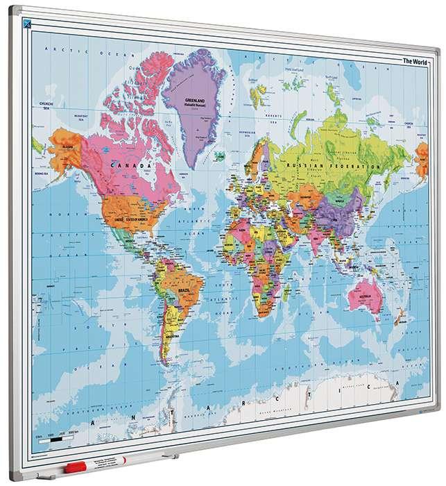 Photo: Landkaart bord Softline profiel 8mm, Wereld