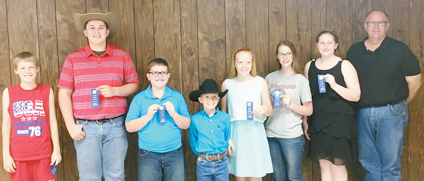 CONTEST...Cheyenne 4-H members participating in the Impressive Dress & Speech Contest were, Pictured left to right: Tack Hammer, Tyler York, Keagan Lamb, Nate Hickey, Emma Hickey, Callee Hammer, Jaylynn Lamb and Dan Cook.