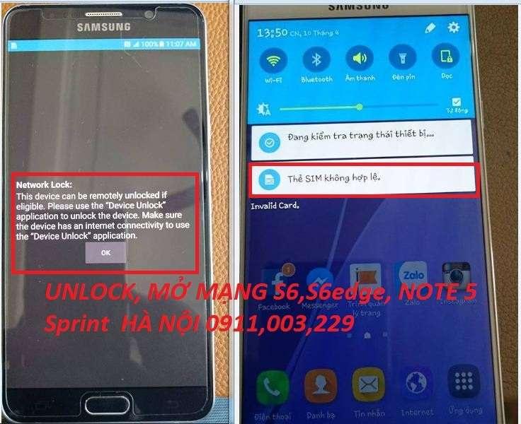 UNLOCK, MỞ MẠNG SAMSUNG NOTE 5 Sprint N920P , NETWORK LOCK,THẺ SIM KHÔNG HỢP Lệ BẺ KHÓA MẠNG OK